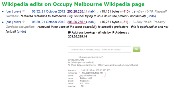 The smoking gun, proof Melbourne City Council is behind  the IP address 203.26.235.14 editing Occupy Melbourne wikipedia page. The timing of this edit is far from coincidental. 21st October, the one year anniversay of the briutal city square eviction and just dys before the 2012 Melbourne city council elections, where Robert Doyle sought and gained re-election.
