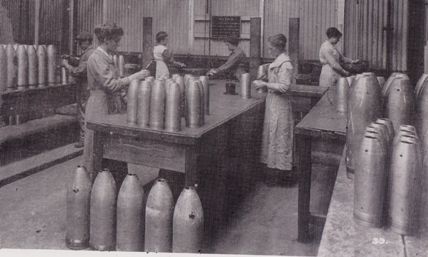Women working in a munitions factory in WW2, industrial work was largely unknown for women before this time.