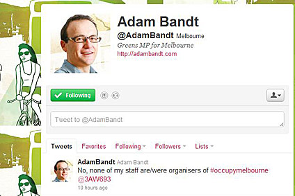 Adam Bandt denies involvement in Occupy Melbourne.