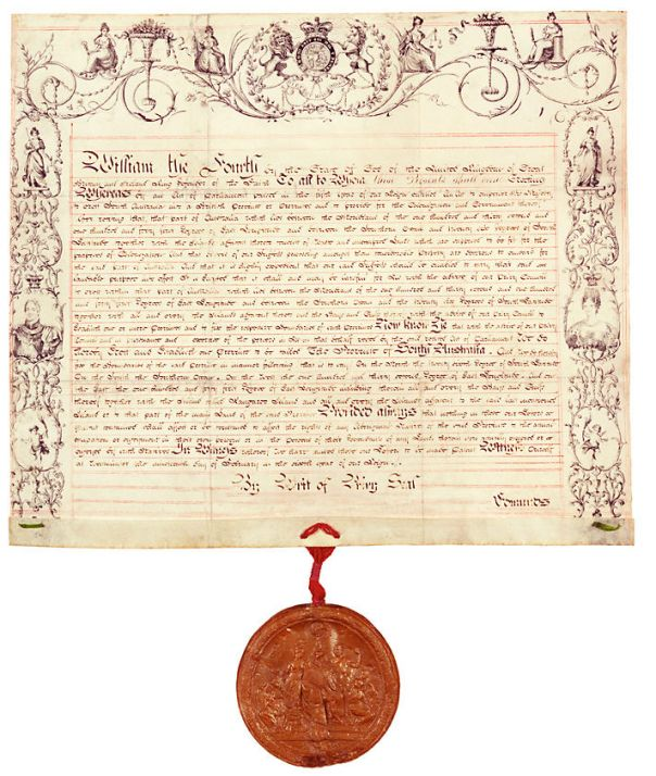 Letters patent 1836 by William the 4th to original people of South Australia. Low resolution version.