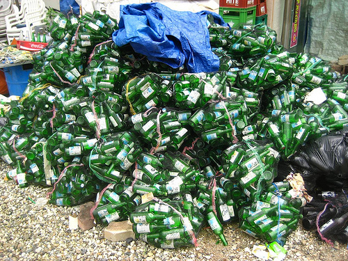 Most Soju bottles in Korea are now empty and littering the streets.