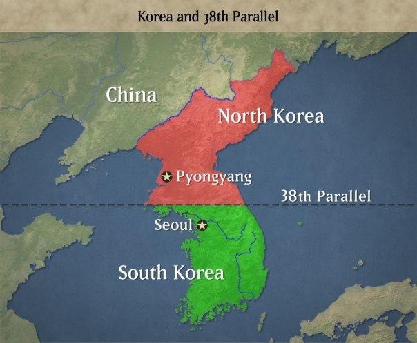 The long divided Korean peninsula.