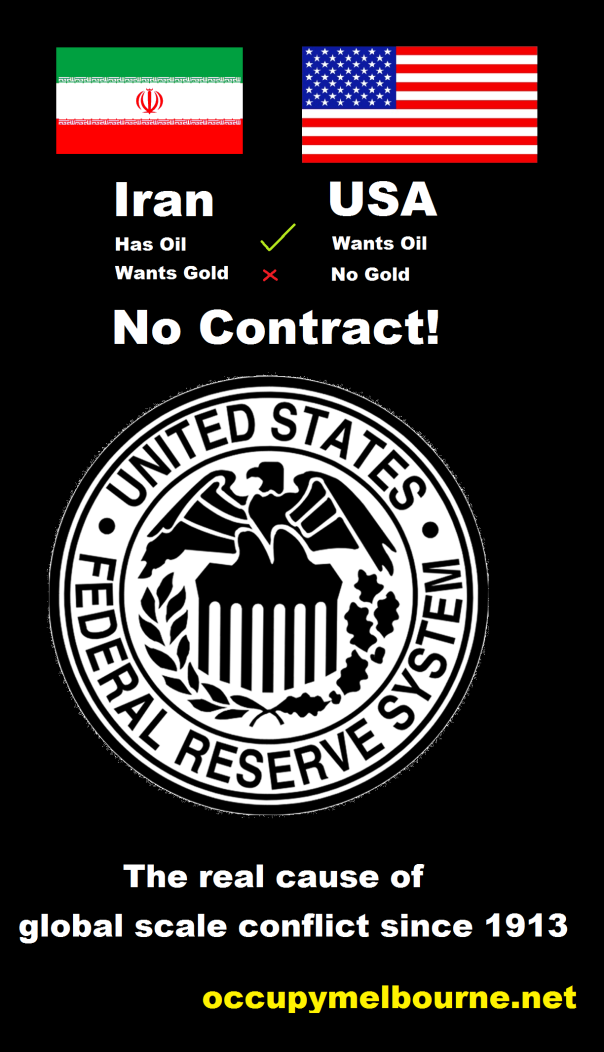 Iran has oil and wants gold, USA wants oil and has no gold. No contract! United States Federal reserve system. The real cause of global scale conflict since 1913.