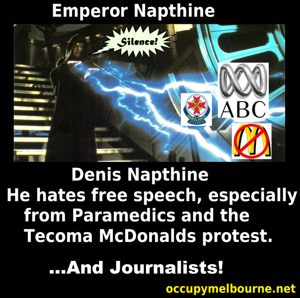 Emperor (Denis) Napthine at it again, this time Journalists need to be silenced.