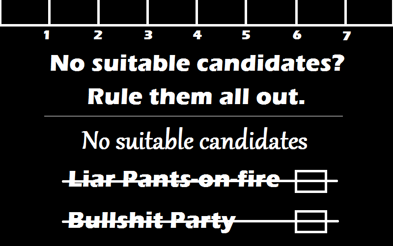 Write on the form 'No suitable candidates' rule a line through all candidates names and the boxes next to the name.  Rule a line through all the party names and all the party boxes.