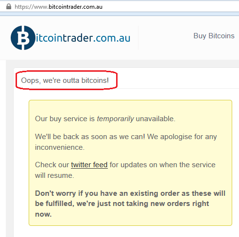 Local Bitcoin for bank deposit merchant runs out of coins today