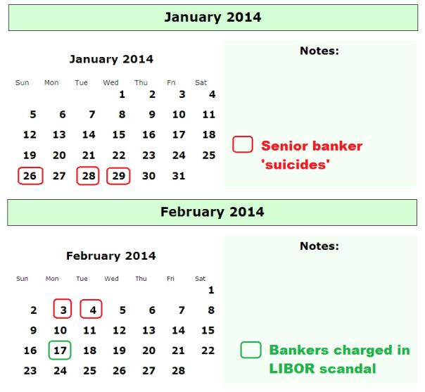 banker suicide and libor scandal calendar