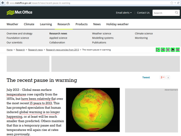 Met office concludes there has been no global warming for the last 15 years
