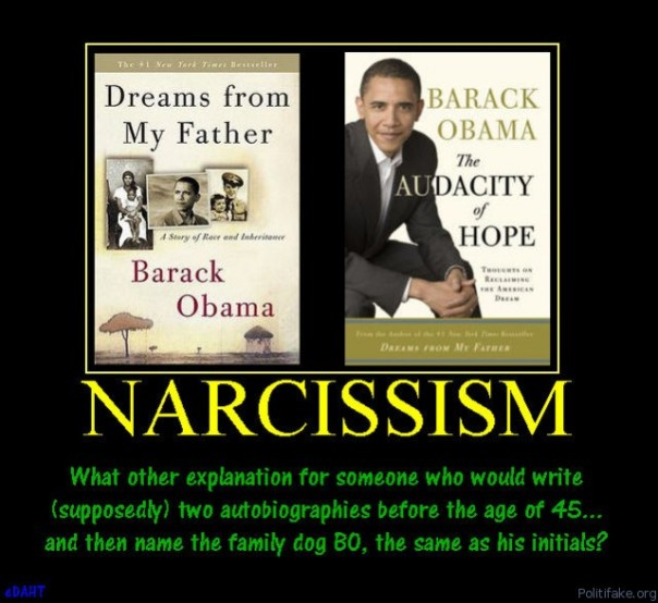 narcissism-obama-autobiography-narcissism-dog-political-poster1