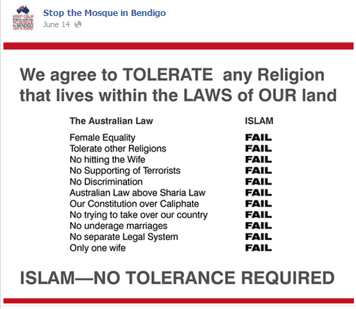 We oppose Islam because Islam is anti australian by legal definition. Islam is not a race it is a political idealogy best described as fascist.