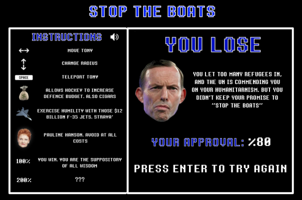 Abbott stop the boats simulator. Oh the LOLS.