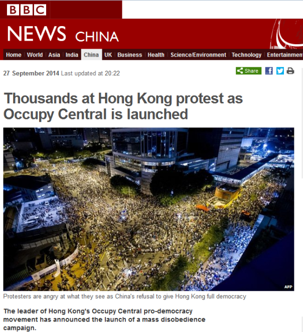 Thousands take to the street in Hong Kong in protest of Chinese government wanting to reduce democratic freedoms.