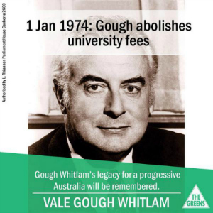 The Greens attempt to claim credit for Whitlam's policies.