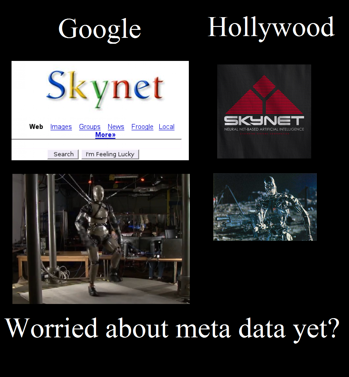 Google has huge amounts of internet data an meta data and has recently purchased from DARPA/Boston Dynamics PETMAN and other robotics technology